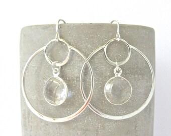 Silver Crystal Quartz Circle Earrings - Dangle Earrings - Crystal Earrings - Bridal Earrings