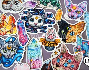 Cats & Crystals Sticker Set