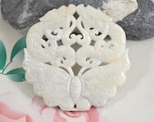 Large Carved butterfly Jade Pendant,White Jade Pendant Dragon Jade Pendant Double Face  Amulet Talisman Necklace Pendant Jewerly