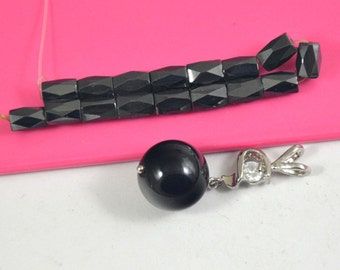 16Beads Charm Faceted Black Magnet, Black Round Agate Pendant Beads, 16mm Agate Bead, 5x8mm Magnet Loose Gemstone beads Fit Handmade Jewelry