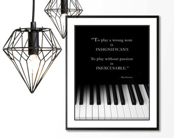 BEETHOVEN Music Quote, Pianist, Black and White Piano Keyboard, Music Piano Band Teacher, 8x10 Wall Art Print