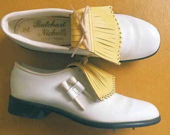 Vintage 1960s Yellow And White Saddle Golf Shoes by Butchart Nicolls • Size 6