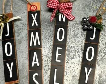 Christmas Ornament Vintage Metal Letters