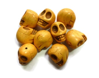 Howlite Skull - Marigold Light Orange - Extra Large Skull - 30mm x 25mm - 1 bead - Huge