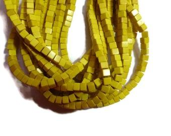 Mustard Yellow Howlite - Cube Bead - 4mm - Full Strand - around 93 beads - Lemon Banana Square
