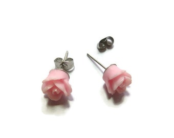 Pink Rose Stud Earrings ~ One Pair ~ 9mm - Post Earring ~ Flower ~ Bridesmaid ~ Carnation Pink ~ Cotton Candy