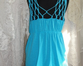 Vintage blue top with weaving