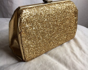 Gold 80's Clutch -- Sparkly, Formal, Dress up, Costume
