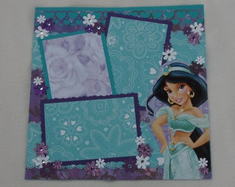 Disney Princess Birthday Jasmine Aladdin Genie Jafar Abu Ariel Belle Rapunzel Cinderella Snow White 12x12 Premade Scrapbook Page by KARI