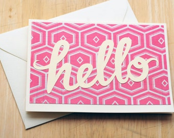 SALE-Hello Greeting Cards-Pink // Set of 5 // Blank Cards // Geometric Pattern // Thinking of You // Just Because // Love Note