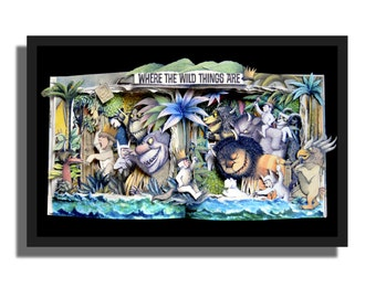 SALE - Where The Wild Things Are - Book Sculpture 16x20x3 Shadowbox Framed
