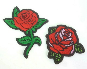 Set of 2 Red Roses Tattoo Embroidered Applique Patches. Iron On or Sew On Badges for T-shirts, Jeans, Shirts
