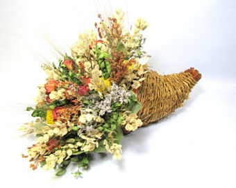 Cornucopia Arrangement,  Autumn Centerpiece,  Dried Flower Arrangement