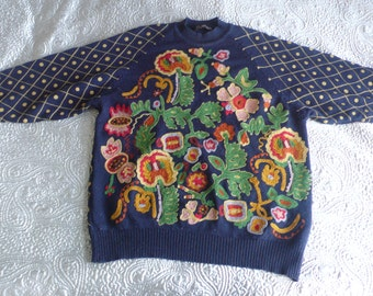 French Connection 80s crewelwork navy floral sweater M