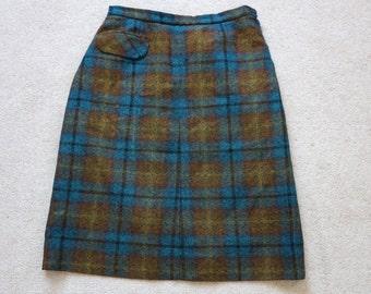 Gor-ray tweed skirt teal mustard, dark brown UK 12 - 14 Mad Men