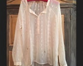 Semi Sheer Ivory Gypsy Blouse by Democratic in Sexy Crepe Size S/M