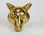 door knocker, fox, brass, heavy, animal, door decoration, large,