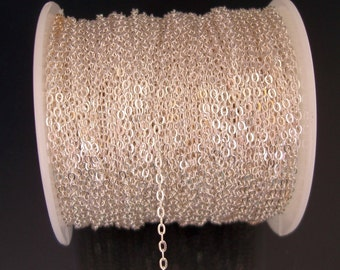1 Meter Bright Sterling Silver Plated Over Brass Flat Oval Chain 2x1.6mm.