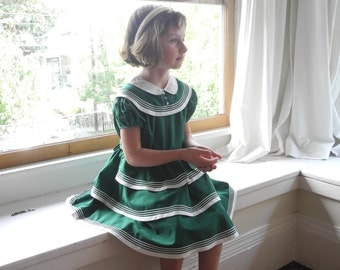 Vintage Girls Clothes, 1950's Hunter Green and Ivory Girl's Dress, Vintage Girls Dress, Green Girls Dress, 1950s Girls Dress, Size 5-6