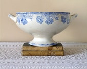 1900 - Shabby Chic French Antique Ironstone Tureen - Blue transferware - lovely French Antique Planter - French Dish With Blue Flowers