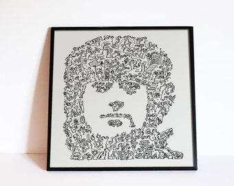 Jimmy Page poster - Led Zeppelin print - Biography Portrait - Art Rock Wall - Giclée Print in limited edition of 100 - Fine Art Print