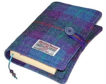 Book Cover Harris Tweed Purple Heather,  Bible Wrap, Journal Cover or Diary Jacket