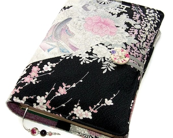 Large Book Cover, Made to Measure Bible Cover, Vintage Kimono Silk, Japanese Princess & Peony Flower, UK Seller, Custom Sizes Made