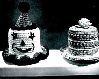 1960's Clown & Hat Tissue Covers Crochet Pattern Instant Download PDF