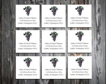 100 Wine Rustic Vineyard  Wedding Address Labels. Personalized self stick label