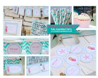 Mermaid Birthday Party Kit   Mermaid Birthday Party Package   Mermaid Birthday Party Set