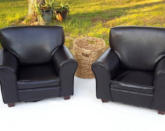 Pair Armchair Children Sized Faux Leather TV Time Family Room Furniture Cocoa Brown Luxe Decor Find by AntiquesandVaria