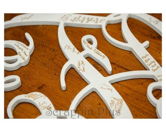 30 Inch Connected Wood Vine Script Monogram Letters - Perfect for hanging on a wall or added to a wreath and hanging on your front door.