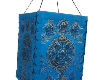 Natural Lokta Square Mandala Paper Lamp Shade NEPAL-Handmade hanging Lamp shade