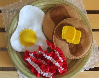 Breakfast Felt Food Set, Pancake Felt Food, Bacon and Egg Felt Food Set, Felt Food, Pretend Play, Play Food, Toddler Toy, Children's Gifts