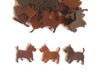 Die cut felt dog shape westie felt animals pre cut shapes fabric scotty dog small felt dog