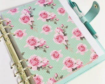 A5 Size Mint Polka Dot With Pink Roses Vintage Roses Light and Dark Pink Laminated Dashboard Filofax Large Kikki k Planner