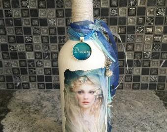 Blue Moon Goddess Altered Wine Bottle, Decoupage Vase, Fragrance Diffuser, Home Decor