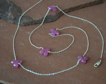Pink Sapphire Necklace, Delicate Silver Chain