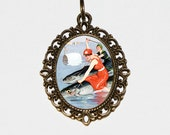 Fish Riders Necklace, Ocean, Sea, Marine, Odd, Oddities, Pinup, Beach Jewelry, Oval Pendant
