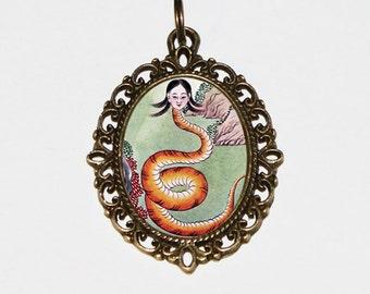 Nuwa Snake Goddess Necklace, Chinese Mythology Jewelry, Oval Pendant