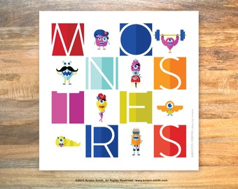 Hipster Monsters - kids room art print - modern bold
