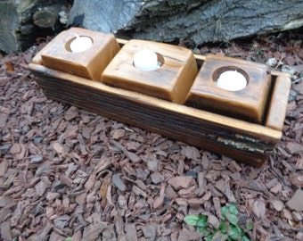 Reclaimed Barnwood  Candle Holder for 3 candles with barn wood tray MOP
