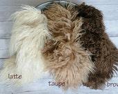 "18""x20"" Curly alpaca faux fur, Newborn Photo Prop, Faux Fur, Basket Filler, Faux Fur blanket, Mongolian Fur, Basket Stuffer"