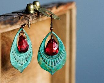 Patina Hoop Earrings Ruby Red Drops Verdigris Bohemian Drop Earrings Art Deco Turquoise Boho Chic Patina Earrings Tribal Earrings - E307