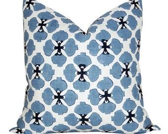 Galbraith & Paul Sakura pillow cover in Denim on White Linen