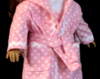 Pink and White Polka Dot Pajama, Robe, Slippers Set Fits American Girl Dolls or Similar 18 Inch Doll