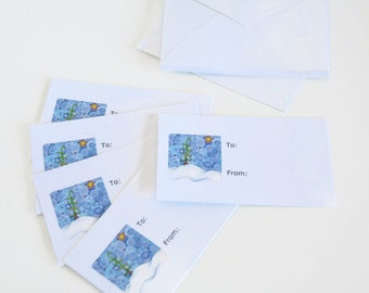Set of 5 Gift Tags with Envelopes printed with Original Artwork