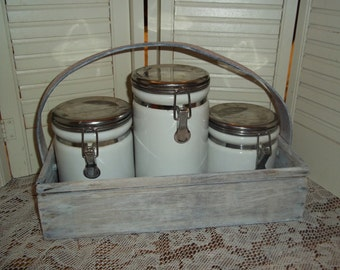 Farmhouse 3Pc Canister set with handmade upcyled caddy ceramic stainless tops..Reduced..Was 21.49