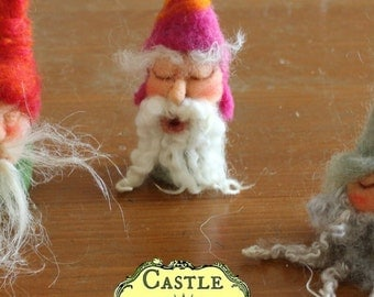Joy-to-the-world Gnome. Needle-felted Finger and Heart-warmer Finger Puppet Gnome by Castle of Costa Mesa