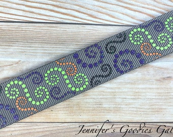 "Halloween Dotted Swirls on Metal Grey Ribbon, 7/8"", Glitter Ribbon, Halloween Ribbon, Designer Ribbon, Ribbon for Bows, Ribbon by the Yard"